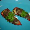 Sød chili/peber med koriander-, chili- og kødfyld