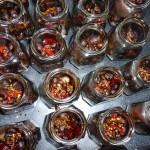 Balsamicosyltede perleløg med chili - krydderierne er fyldt i glassene