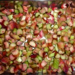 Rhubarb-orange-chili-cheesecake - de snittede rabarber