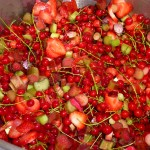 Jordbær-rabarber-ribs-chili-sirup - klar i gryden