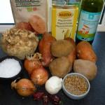 Vegedeller med chili, søde kartofler, selleri og kartofler - ingredienser
