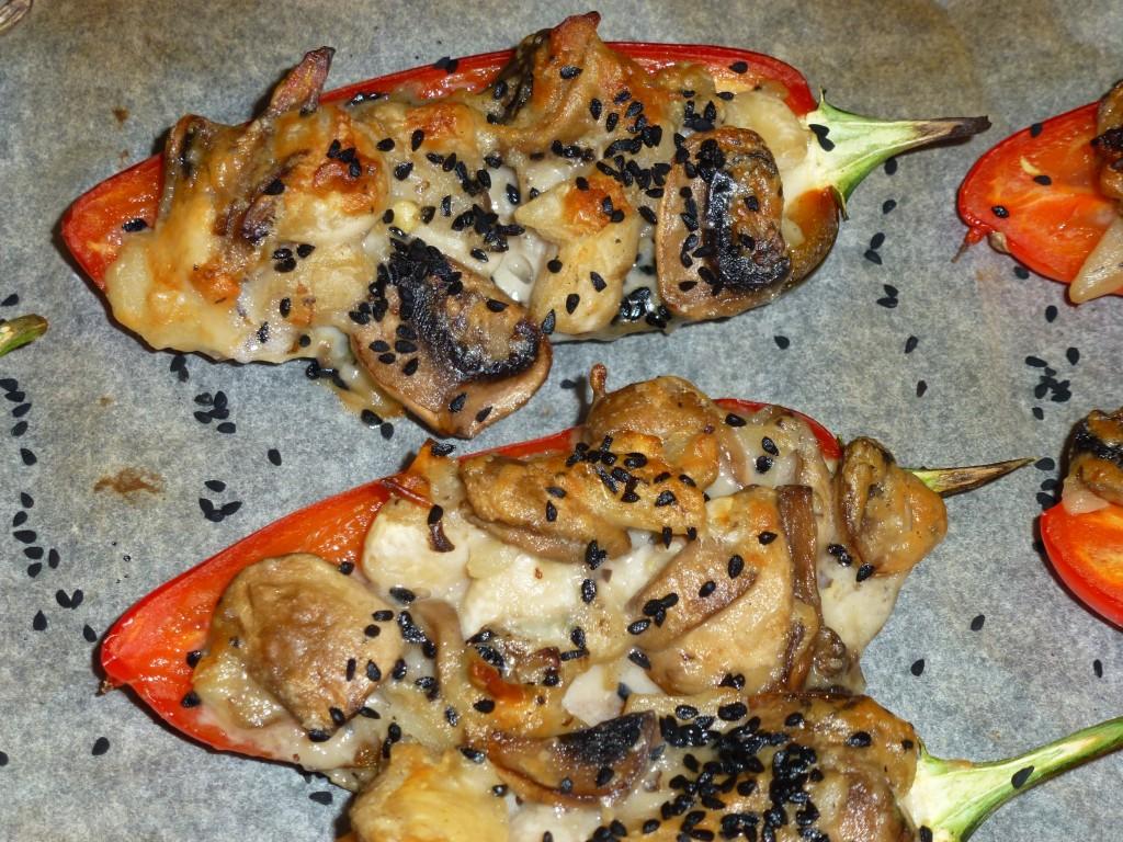 Mushrooms, butter beans and gorgonzola